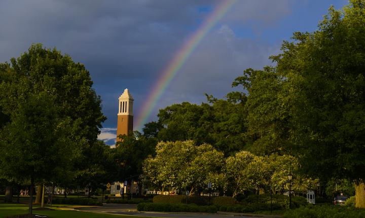 Rainbow behind Denny Chimes