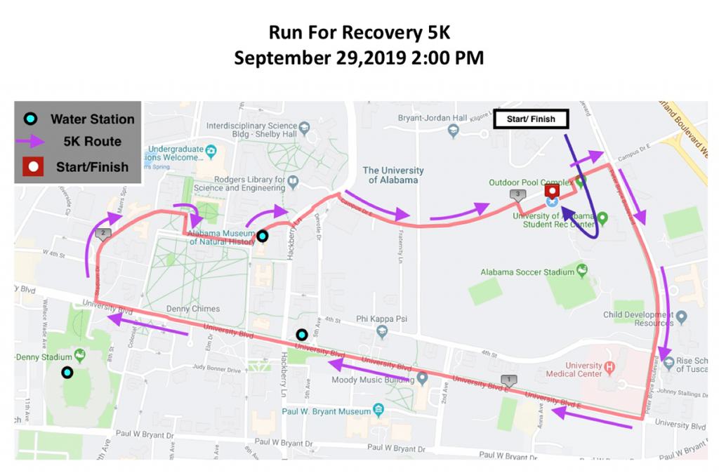 Run for Recovery 5K map. 5K begins and ends at UREC outdoor pool complex.