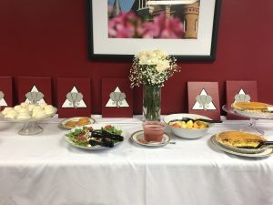 food table at recovery luncheon